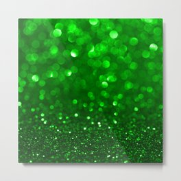 Green glitter and sparkles background Metal Print