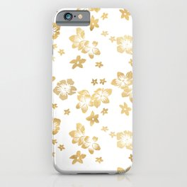 Gold Tropical Flowers iPhone Case