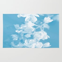Spring Atmosphere White Flowers Sky Blue Background #decor #society6 #homedecor Rug