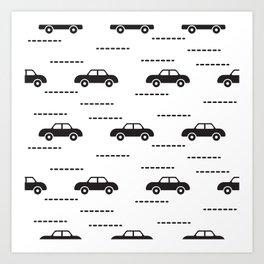 Black automobile road pattern Art Print