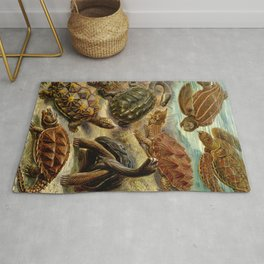 Sea Turtle Collage-Ernst Haeckel Rug
