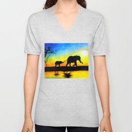 African Sunset Elephant Silhouette Unisex V-Neck