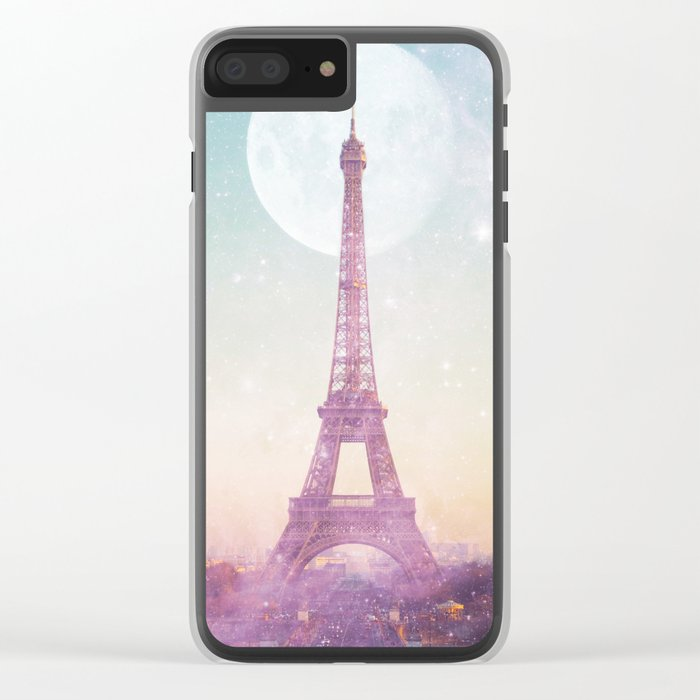 I LOVE PINK PARIS EIFFEL TOWER - Full Moon Universe Clear iPhone Case