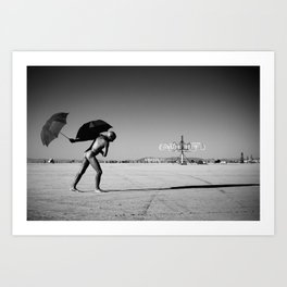 Yoga & Umbrellas Art Print