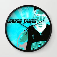 lebron Wall Clocks featuring Lebron James: #4 Hall of Fame Series by Sifa Blackmon