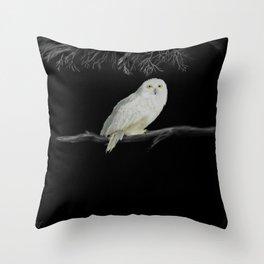 Spirit Owl 1 White on Black Abstract Throw Pillow