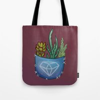 pocket fuel Tote Bags featuring Pocket Series: Succulent Pocket by Fourd Simkins