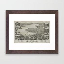 Vintage Pictorial Map of Lake Geneva WI (1882) Framed Art Print