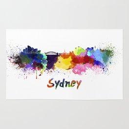 Sydney skyline in watercolor Rug