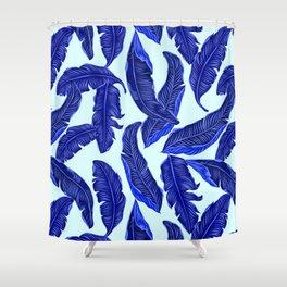 Banana leaves tropical leaves blue white #homedecor Shower Curtain