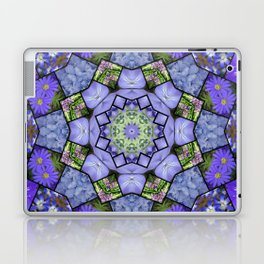 Garden mosaic kaleidoscope mandala - cool blues 2 Laptop & iPad Skin