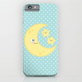 Kawaii Moon and Stars (Blue) iPhone Case