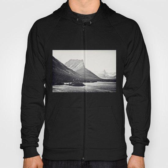 Glacier Mountain Lake Black and White Hoody