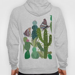 Cactus, succulents and butterflies tropical pattern Hoody