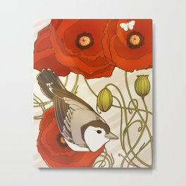Grey Bird, Red Flowers Metal Print