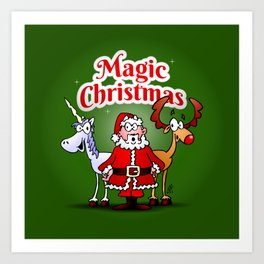 Magic Christmas with a unicorn Art Print