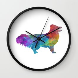 Shetland Seepdog in watercolor Wall Clock