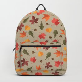 Autumn Leaves Pattern Beige Background Backpack