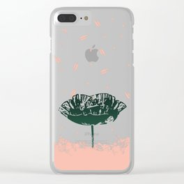 Beautiful Poppy Flower on Marble Design Clear iPhone Case