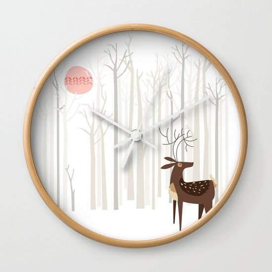 Reindeer of the Silver Wood Wall Clock