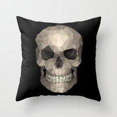 Polygons skull black Throw Pillow