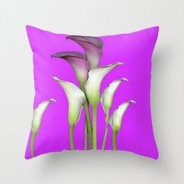 WHITE CALLA LILIES PURPLE VIOLET DECORATIVE ART Throw Pillow