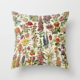 Multicolored Flowers Vintage Style with text in French Throw Pillow