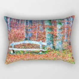 Wooden park bench in dry leaves Rectangular Pillow