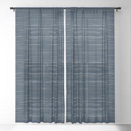 Meteor Stripes - Dark Denim Sheer Curtain