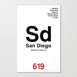 San Diego City Poster Canvas Print