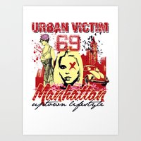 manhattan Art Prints featuring Manhattan  by Tshirt-Factory