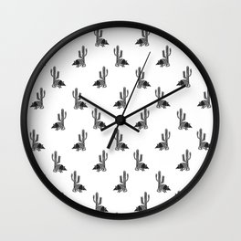 Armadillo in the desert Wall Clock