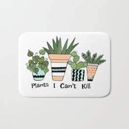 Plants I Can't Kill Funny Illustration Bath Mat