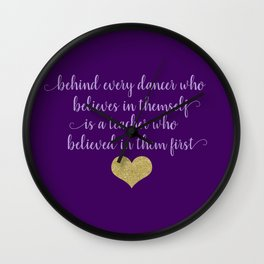Dance Quotes - Purple Wall Clock