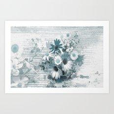 teal flowers on worn wood Art Print