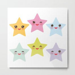 Kawaii stars, face with eyes, pink green blue purple yellow Metal Print