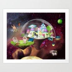 Bunnies Space Art Print