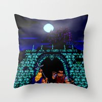 castlevania Throw Pillows featuring Dark Castle by VGPrints