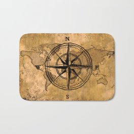 Destinations - Compass Rose and World Map Bath Mat