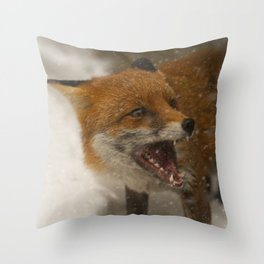 Wild Red Fox In The Snow Throw Pillow