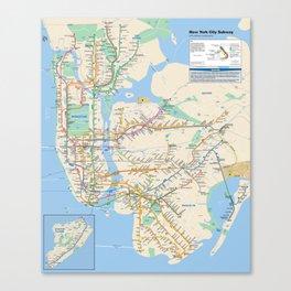 New York City Metro Subway Map Canvas Print
