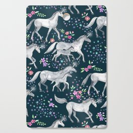 Unicorns and Stars on Dark Teal Cutting Board