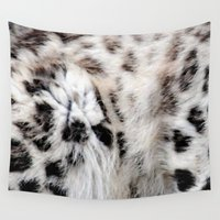snow leopard Wall Tapestries featuring Snow Leopard by Moody Muse