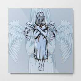 Gothic Girl Memento Mori Angel Girl Earns Her Wings Metal Print