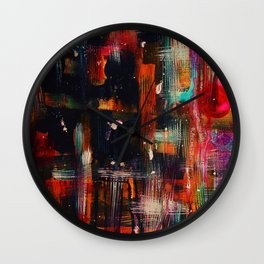 Dark Heat, Abstract Watercolor Painting, Home Decor, Living Room, Dining Room, Acrylic, Art Prints Wall Clock