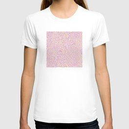 Marigold Lino Cut, Batik Pastel Pink And Orange T-shirt