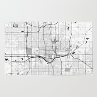 oklahoma Area & Throw Rugs featuring Oklahoma City Map Gray by City Art Posters