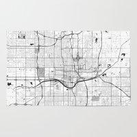oklahoma Area & Throw Rugs featuring Oklahoma City Map Gray by City Art Posters