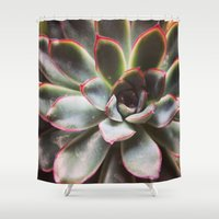 succulent Shower Curtains featuring succulent  by ashes
