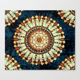 Sketched Mandala Design On A Blue Textured Background Canvas Print